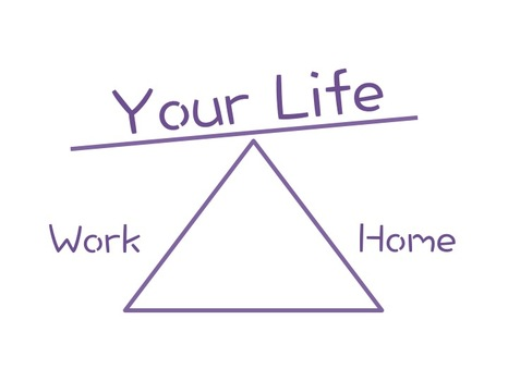 Image of a triangle in purple with the words Your Life sitting on top point, Work to the left and Home to the right